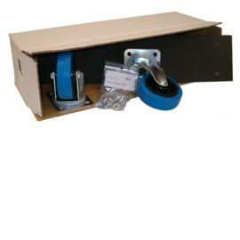Wielplaat 50x12cm met 2x 80mm Blauw zwenkwiel geremd